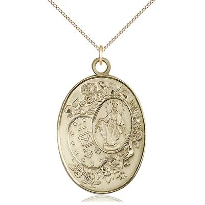 "Miraculous Medal Necklace - 14K Gold Filled - 1-3/8 Inch Tall by 7/8 Inch Wide with 18"" Chain"