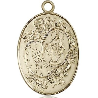 "Miraculous Medal Necklace - 14K Gold Filled - 1-3/8 Inch Tall by 7/8 Inch Wide with 24"" Chain"