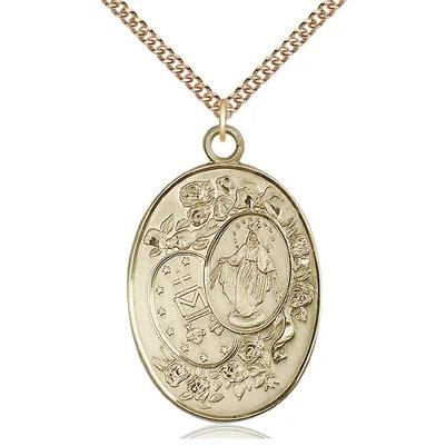 "Miraculous Medal Necklace - 14K Gold - 1-3/8 Inch Tall by 7/8 Inch Wide with 24"" Chain"