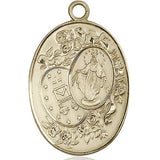 "Miraculous Medal Necklace - 14K Gold - 1-3/8 Inch Tall by 7/8 Inch Wide with 18"" Chain"