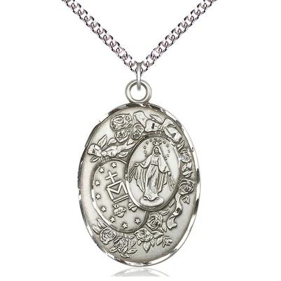 "Miraculous Medal Necklace - Sterling Silver - 1-3/8 Inch Tall by 7/8 Inch Wide with 24"" Chain"