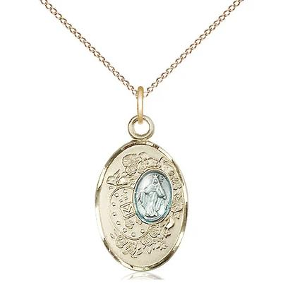 "Miraculous Medal Necklace - 14K Gold Filled - 7/8 Inch Tall by 1/2 Inch Wide with 18"" Chain"