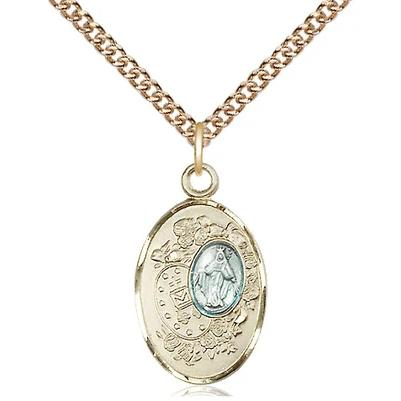 "Miraculous Medal Necklace - 14K Gold Filled - 7/8 Inch Tall by 1/2 Inch Wide with 24"" Chain"