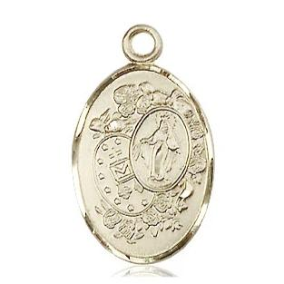 Miraculous Medal - 14K Gold Filled - 7/8 Inch Tall by 1/2 Inch Wide
