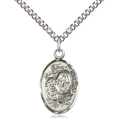 "Miraculous Medal Necklace - Sterling Silver - 7/8 Inch Tall by 1/2 Inch Wide with 24"" Chain"