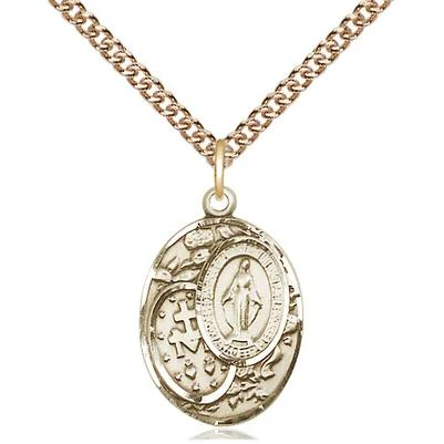 "Miraculous Medal Necklace - 14K Gold Filled - 3/4 Inch Tall by 1/2 Inch Wide with 24"" Chain"
