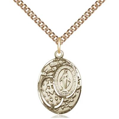 "Miraculous Medal Necklace - 14K Gold - 3/4 Inch Tall by 1/2 Inch Wide with 24"" Chain"