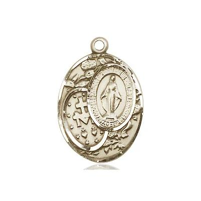 "Miraculous Medal Necklace - 14K Gold - 3/4 Inch Tall by 1/2 Inch Wide with 18"" Chain"