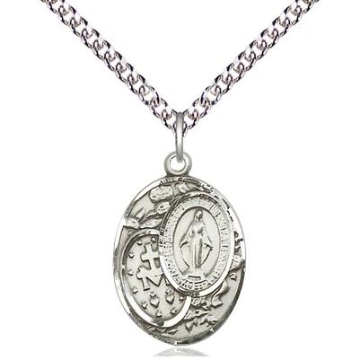 "Miraculous Medal Necklace - Sterling Silver - 3/4 Inch Tall by 1/2 Inch Wide with 24"" Chain"