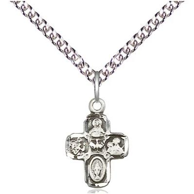 "4 Way Medal Necklace - Sterling Silver - 5/8 Inch Tall by 3/8 Inch Wide with 24"" Chain"