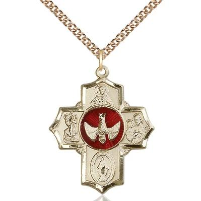 "5 Way Medal Necklace - 14K Gold - 11/4 Inch Tall by 1 Inch Wide with 24"" Chain"