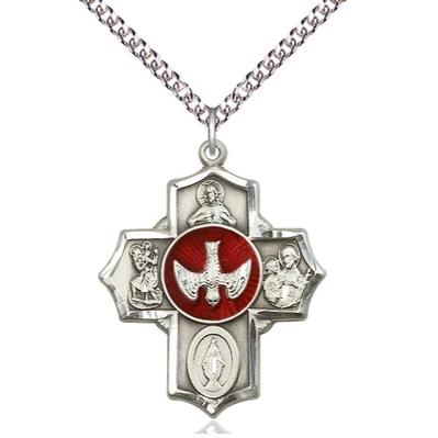 "5 Way Medal Necklace - Sterling Silver - 11/4 Inch Tall by 1 Inch Wide with 24"" Chain"