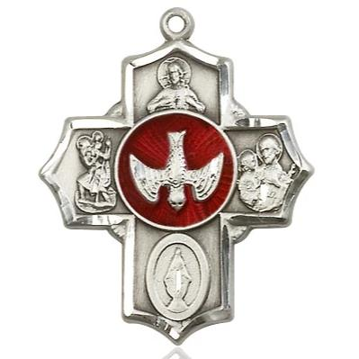 5 Way Medal - Sterling Silver - 11/4 Inch Tall x 1 Inch Wide
