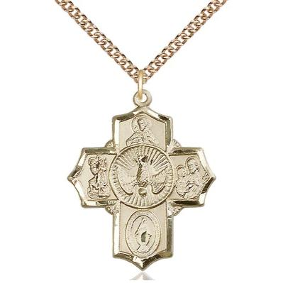"5 Way Medal Necklace - 14K Gold Filled - 11/4 Inch Tall by 1 Inch Wide with 24"" Chain"