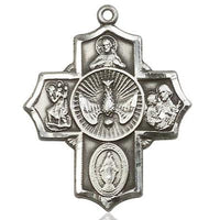 5 Way Medal - Pewter - 11/4 Inch Tall x 1 Inch Wide