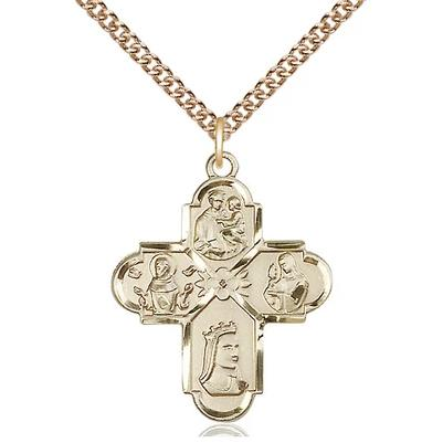 "4 Way Medal Necklace - 14K Gold - 1 Inch Tall by 7/8 Inch Wide with 24"" Chain"
