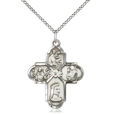 "4 Way Medal Necklace - Sterling Silver - 1 Inch Tall by 7/8 Inch Wide with 18"" Chain"