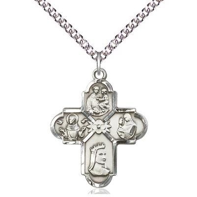 "4 Way Medal Necklace - Sterling Silver - 1 Inch Tall by 7/8 Inch Wide with 24"" Chain"