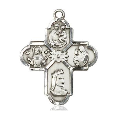 4 Way Medal - Sterling Silver - 1 Inch Tall x 7/8 Inch Wide