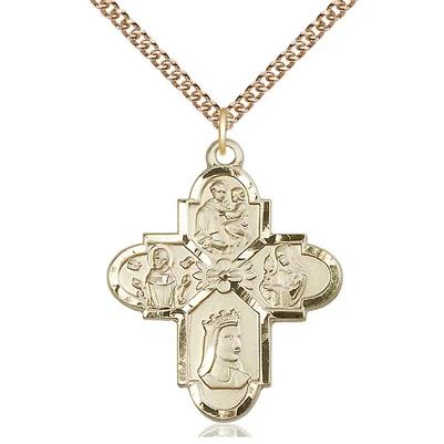 "4 Way Medal Necklace - 14K Gold Filled - 1-1/4 Inch Tall by 1 Inch Wide with 24"" Chain"