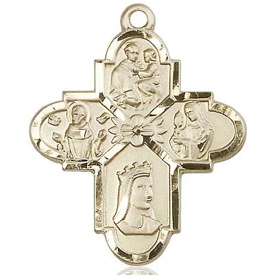 4 Way Medal - 14K Gold Filled - 1-1/4 Inch Tall x 1 Inch Wide