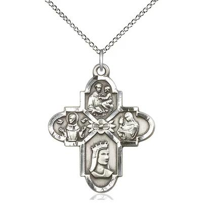 "4 Way Medal Necklace - Sterling Silver - 1-1/4 Inch Tall by 1 Inch Wide with 18"" Chain"