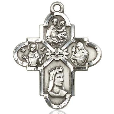 4 Way Medal - Sterling Silver - 1-1/4 Inch Tall x 1 Inch Wide