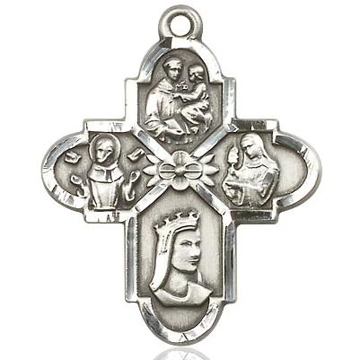 "4 Way Medal Necklace - Sterling Silver - 1-1/4 Inch Tall by 1 Inch Wide with 24"" Chain"