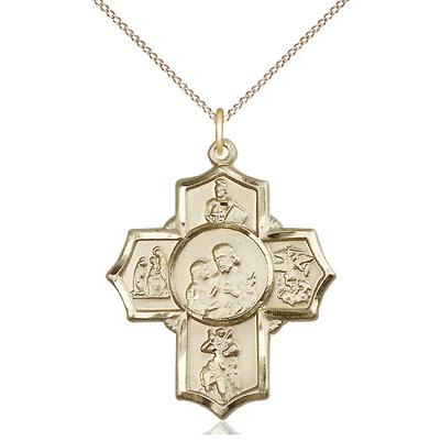 "5 Way Medal Necklace - 14K Gold Filled - 1-1/4 Inch Tall by 1 Inch Wide with 18"" Chain"