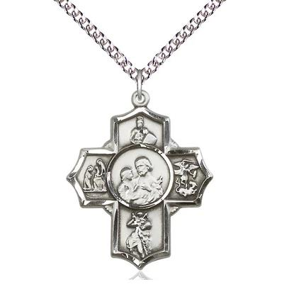 "5 Way Medal Necklace - Sterling Silver - 1-1/4 Inch Tall by 1 Inch Wide with 24"" Chain"