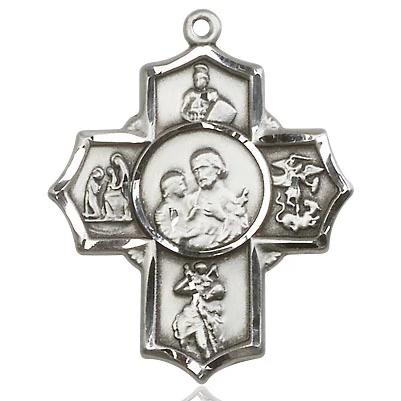 5 Way Medal - Sterling Silver - 1-1/4 Inch Tall x 1 Inch Wide