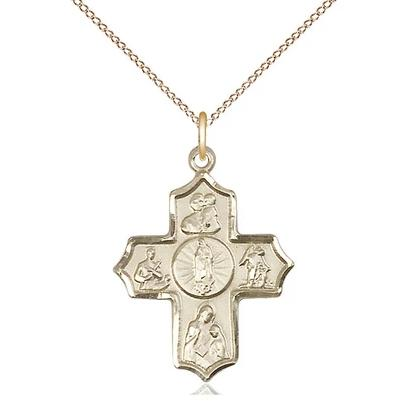 "5 Way Medal Necklace - 14K Gold Filled - 1 Inch Tall by 3/4 Inch Wide with 18"" Chain"