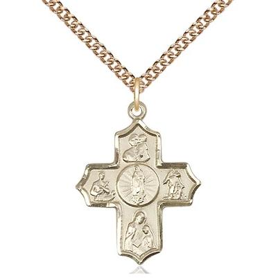 "5 Way Medal Necklace - 14K Gold Filled - 1 Inch Tall by 3/4 Inch Wide with 24"" Chain"