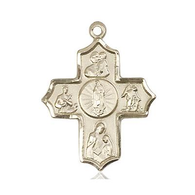 5 Way Medal - 14K Gold - 1 Inch Tall x 3/4 Inch Wide