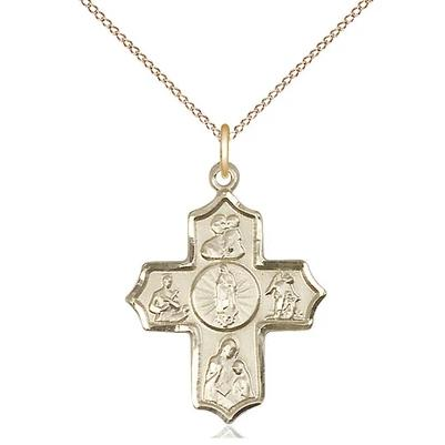 "5 Way Medal Necklace - 14K Gold - 1 Inch Tall by 3/4 Inch Wide with 18"" Chain"