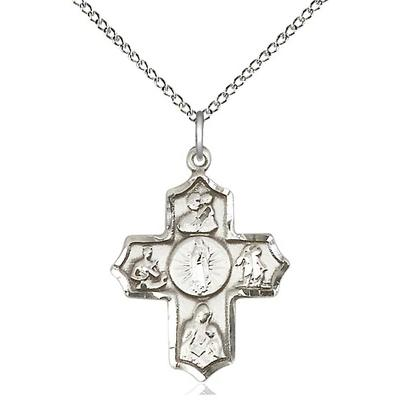 "5 Way Medal Necklace - Sterling Silver - 1 Inch Tall by 3/4 Inch Wide with 18"" Chain"