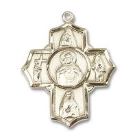 4 Way Scapular Medal - 14K Gold Filled - 1-1/4 Inch Tall x 1 Inch Wide