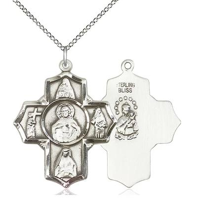 "4 Way Scapular  Medal Necklace - Sterling Silver - 1-1/4 Inch Tall by 1 Inch Wide with 18"" Chain"