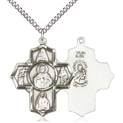 "4 Way Scapular  Medal Necklace - Sterling Silver - 1-1/4 Inch Tall by 1 Inch Wide with 24"" Chain"