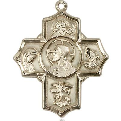 5 Way Medal - 14K Gold Filled - 1-1/4 Inch Tall x 1 Inch Wide