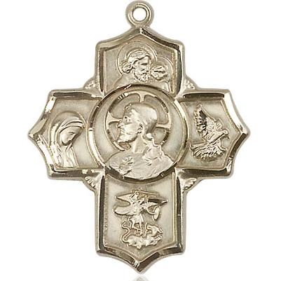 5 Way Medal - 14K Gold - 1-1/4 Inch Tall x 1 Inch Wide