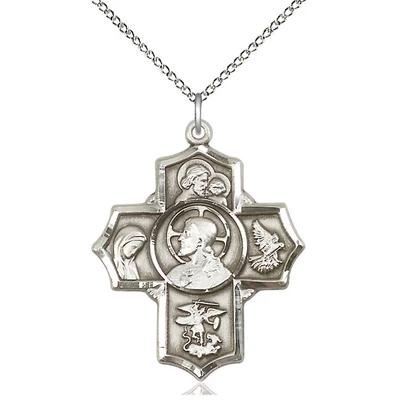 "5 Way Medal Necklace - Sterling Silver - 1-1/4 Inch Tall by 1 Inch Wide with 18"" Chain"