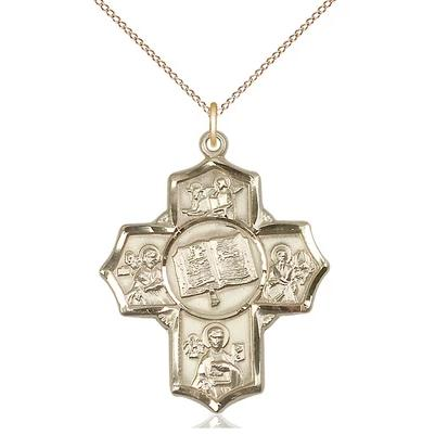 "5 Way Medal Necklace - 14K Gold - 1-1/4 Inch Tall by 1 Inch Wide with 18"" Chain"