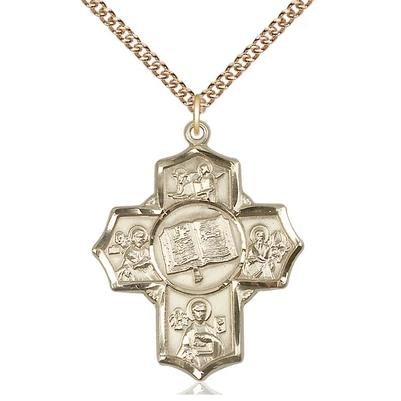 "5 Way Medal Necklace - 14K Gold - 1-1/4 Inch Tall by 1 Inch Wide with 24"" Chain"