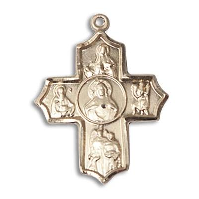 5 Way Medal - 14K Gold Filled - 7/8 Inch Tall x 3/4 Inch Wide