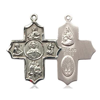 5 Way Medal - Sterling Silver - 7/8 Inch Tall x 3/4 Inch Wide