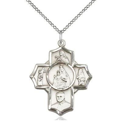 "4 Way Medal Necklace - Sterling Silver - 1-1/8 Inch Tall by 1 Inch Wide with 18"" Chain"