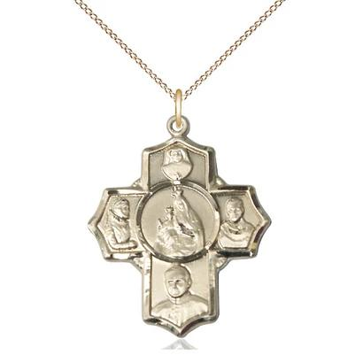 "4 Way Medal Necklace - 14K Gold Filled - 1-1/8 Inch Tall by 1 Inch Wide with 18"" Chain"