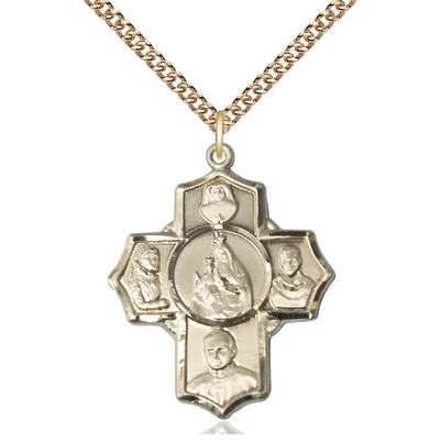 "4 Way Medal Necklace - 14K Gold Filled - 1-1/8 Inch Tall by 1 Inch Wide with 24"" Chain"