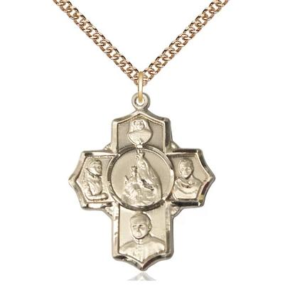 "4 Way Medal Necklace - 14K Gold - 1-1/8 Inch Tall by 1 Inch Wide with 24"" Chain"